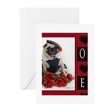Unique Pug valentine Greeting Cards (Pk of 10)