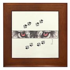 """Wolf Eyes & Paw Prints"" Framed Tile"