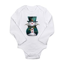Cute Snowman in Green Velvet Long Sleeve Infant Bo