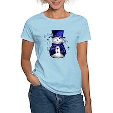 Cute Snowman in Blue Velvet Women's Light T-Shirt