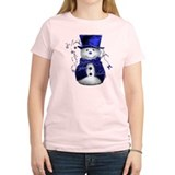 Cute Snowman in Blue Velvet T-Shirt