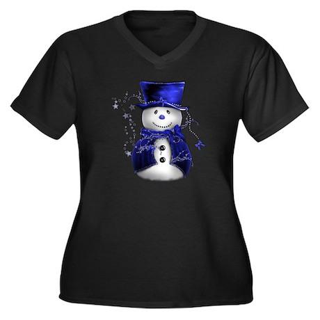 Cute Snowman in Blue Velvet Women's Plus Size V-Ne