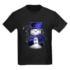 Cute Snowman in Blue Velvet T