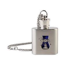 Cute Snowman in Blue Velvet Flask Necklace