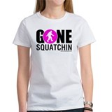 Gone Squatchin Black/Pink Logo Womens Shirt White