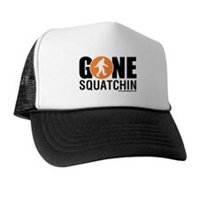 Gone Squatchin Black/Orange Logo Trucker Hat/Cap
