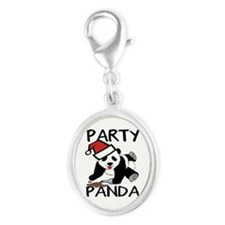 Funny party panda design Silver Oval Charm