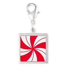 Peppermint Candy Silver Square Charm