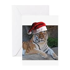 Santa Hat Bengal Tiger Greeting Card