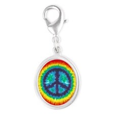 Tie Dye Peace Sign Silver Charm (Oval)