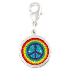 Tie Dye Peace Sign Silver Charm