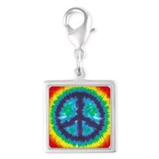 Tie Dye Peace Sign Silver Square Charm