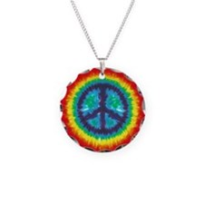 Tie Dye Peace Sign Necklace Charm