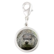 Groundhog Eating Silver Round Charm