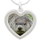 Groundhog Eating Silver Heart Necklace