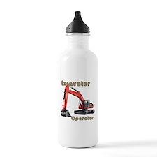 Red Excavator Water Bottle
