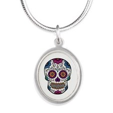 Sugar Skull Silver Oval Necklace