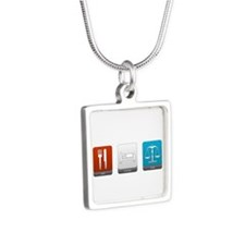 Eat, Sleep, Law Silver Square Necklace