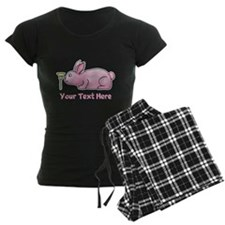 Pink Rabbit, Custom Text. Pajamas