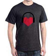 Red heart headphones T-Shirt