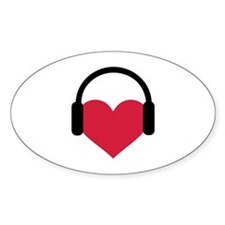 Red heart headphones Decal
