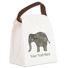 Asian Elephant and Text. Canvas Lunch Bag