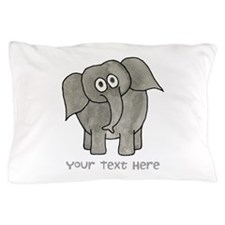 Elephant. Custom Text. Pillow Case