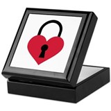 Single heart lock Keepsake Box