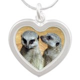 Meerkat - Cute Faces Silver Heart Necklace
