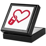 Red heart lock Keepsake Box