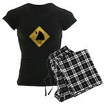 Falling Cow Zone Yellow Women's Dark Pajamas