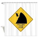 Falling Cow Zone Yellow Shower Curtain