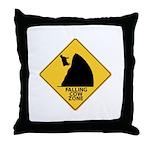 Falling Cow Zone Yellow Throw Pillow