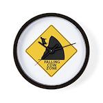 Falling Cow Zone Yellow Wall Clock