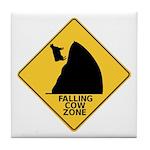 Falling Cow Zone Yellow Tile Coaster