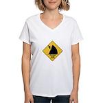 Falling Cow Zone Yellow Women's V-Neck T-Shirt