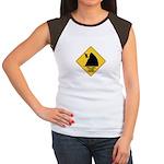 Falling Cow Zone Yellow Women's Cap Sleeve T-Shirt