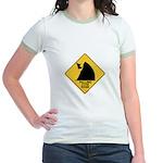 Falling Cow Zone Yellow Jr. Ringer T-Shirt
