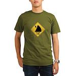 Falling Cow Zone Yellow Organic Men's T-Shirt (dar