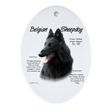Belgian Sheepdog Oval Ornament
