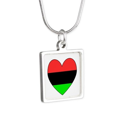 Picture of necklace with the African American Flag Heart Valentine design from Flag of Nations section of cafepress.com/ameriwear