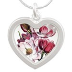 Pink Magnolia Flowers Silver Heart Necklace
