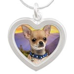 Chihuahua Meadow Silver Heart Necklace
