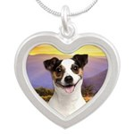 Jack Russell Meadow Silver Heart Necklace
