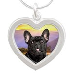 French Bulldog Meadow Silver Heart Necklace