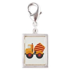 Red Cement Truck Silver Portrait Charm