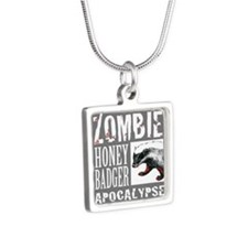 Zombie Honey Badger Silver Square Necklace