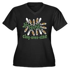 Clog Over Vine Dance Women's Plus Size V-Neck Dark