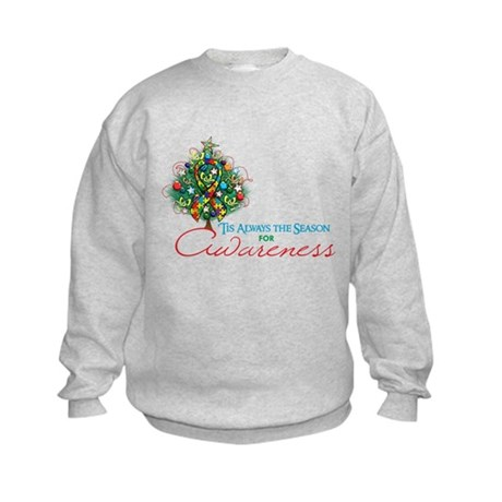 Puzzle Ribbon Xmas Tree Kids Sweatshirt