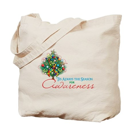 Puzzle Ribbon Xmas Tree Tote Bag